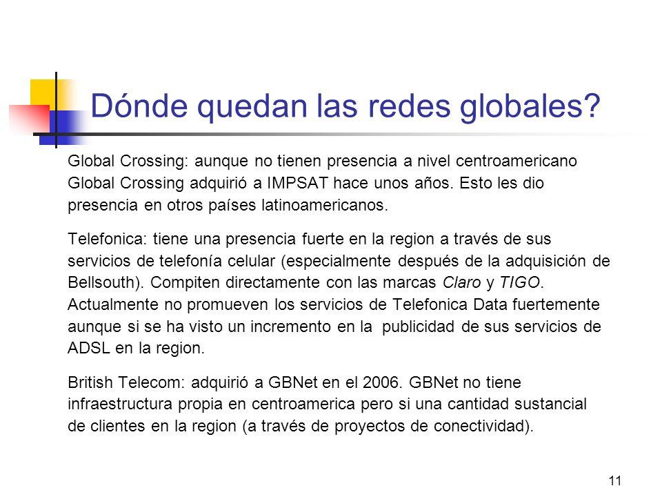 11 Dónde quedan las redes globales? Global Crossing: aunque no tienen presencia a nivel centroamericano Global Crossing adquirió a IMPSAT hace unos añ