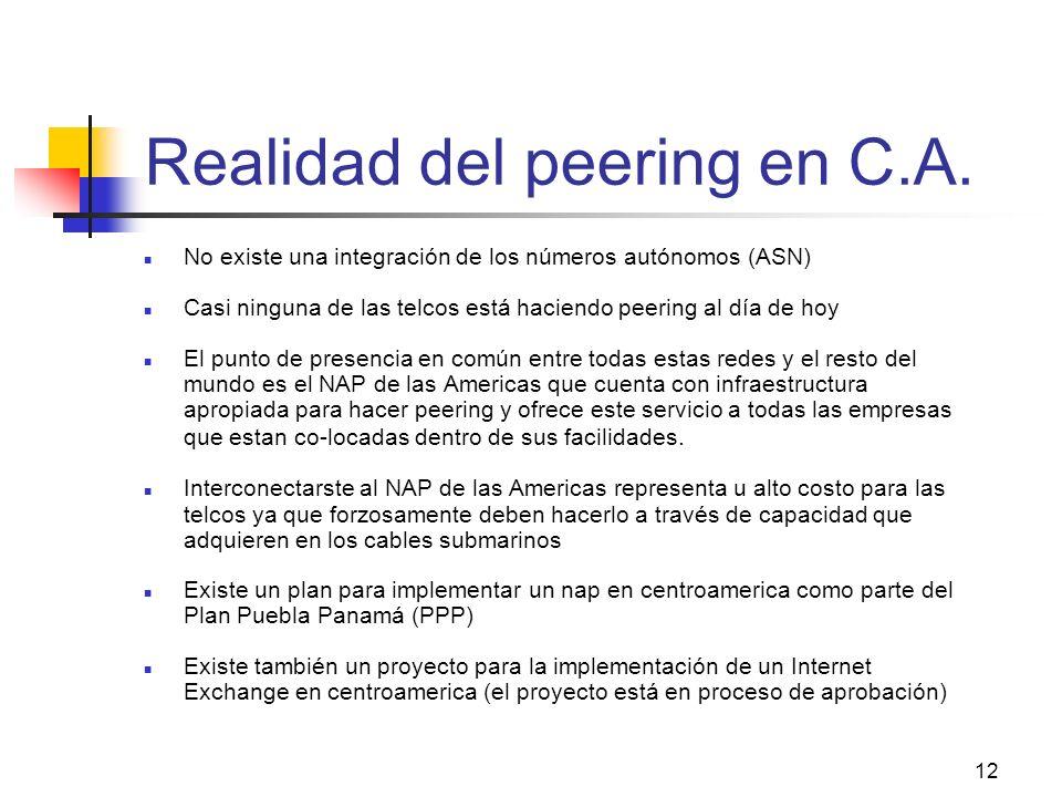 12 Realidad del peering en C.A. No existe una integración de los números autónomos (ASN) Casi ninguna de las telcos está haciendo peering al día de ho