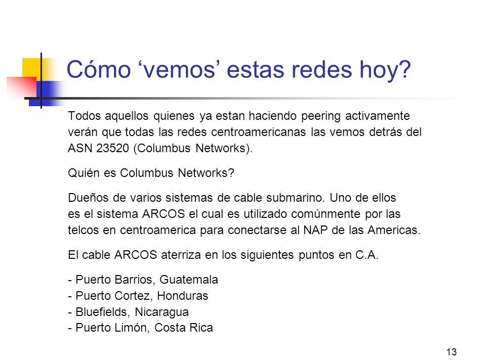 13 Cómo vemos estas redes hoy? Todos aquellos quienes ya estan haciendo peering activamente verán que todas las redes centroamericanas las vemos detrá