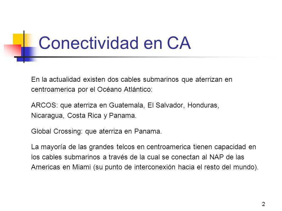 2 Conectividad en CA En la actualidad existen dos cables submarinos que aterrizan en centroamerica por el Océano Atlántico: ARCOS: que aterriza en Guatemala, El Salvador, Honduras, Nicaragua, Costa Rica y Panama.