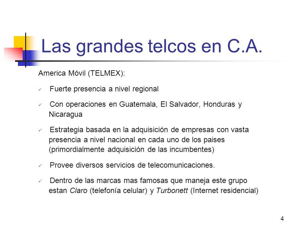 4 Las grandes telcos en C.A. America Móvil (TELMEX): Fuerte presencia a nivel regional Con operaciones en Guatemala, El Salvador, Honduras y Nicaragua