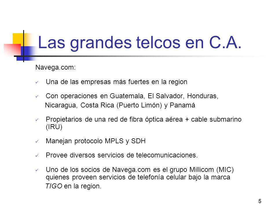 5 Las grandes telcos en C.A. Navega.com: Una de las empresas más fuertes en la region Con operaciones en Guatemala, El Salvador, Honduras, Nicaragua,