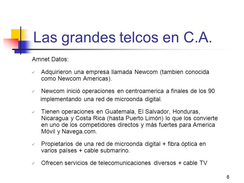6 Las grandes telcos en C.A. Amnet Datos: Adquirieron una empresa llamada Newcom (tambien conocida como Newcom Americas). Newcom inició operaciones en