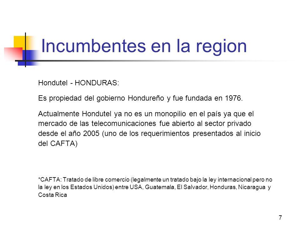7 Incumbentes en la region Hondutel - HONDURAS: Es propiedad del gobierno Hondureño y fue fundada en 1976. Actualmente Hondutel ya no es un monopilio