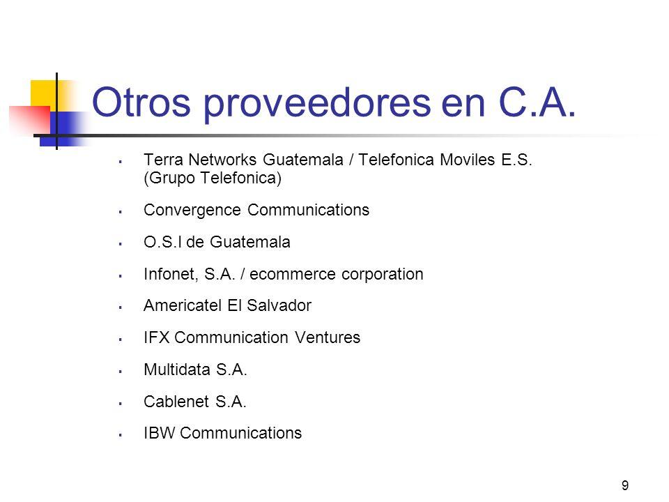 9 Otros proveedores en C.A. Terra Networks Guatemala / Telefonica Moviles E.S. (Grupo Telefonica) Convergence Communications O.S.I de Guatemala Infone