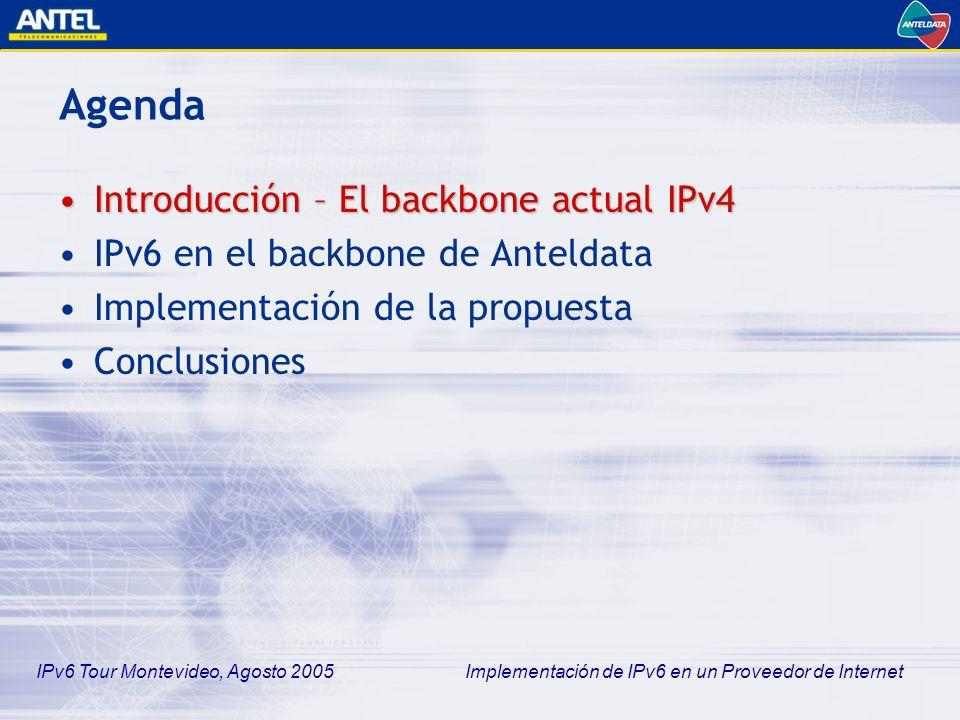 IPv6 Tour Montevideo, Agosto 2005 Implementación de IPv6 en un Proveedor de Internet Backbone Actual Anteldata (IPv4)