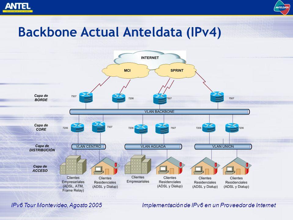 IPv6 Tour Montevideo, Agosto 2005 Implementación de IPv6 en un Proveedor de Internet Backbone Actual Anteldata (IPv4) Diseño clásico en capas o anillos colapsados sobre infraestructura de switching Ethernet –Estabilidad de la red Múltiples puntos de sumarización de rutas Múltiples puntos de control de tráfico –Flexibilidad en el despliegue de servicios División geográfica y funcional –Backbone –Core y Distribución Centro –Core y Distribución Aguada –Core y Distribución Unión
