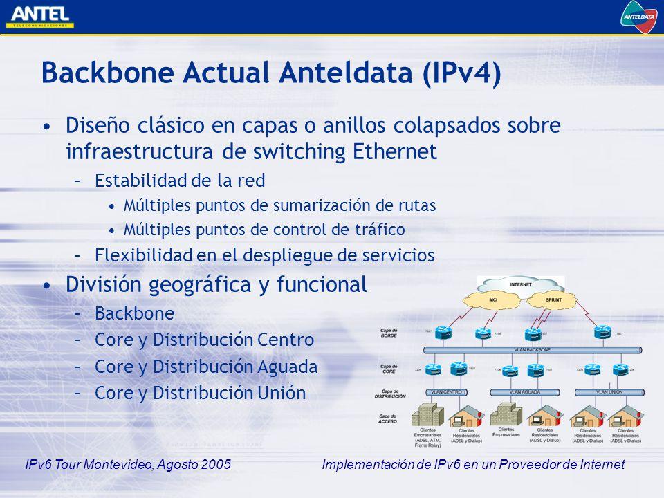 IPv6 Tour Montevideo, Agosto 2005 Implementación de IPv6 en un Proveedor de Internet Backbone Actual Anteldata (IPv4) Infraestructura –Routers Cisco, plataformas 7200 VXR y 7500 RSP8 –Switches Catalyst 6500 Tráfico