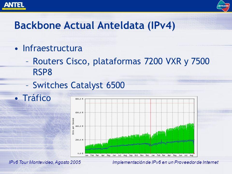 IPv6 Tour Montevideo, Agosto 2005 Implementación de IPv6 en un Proveedor de Internet Implementación de la propuesta BGP4 –Intercambio de prefijos con otros sistemas autónomos ipv6-borde#sh ip bgp summary BGP router identifier 200.40.0.60, local AS number 6057 BGP table version is 1, main routing table version 1 Neighbor V AS MsgRcvd MsgSent TblVer InQ OutQ Up/Down State/PfxRcd 2001:408:3FFE::5 4 284 29 78 0 0 0 00:19:51 (NoNeg) 2001:1328::49 4 1797 40943 21698 0 0 0 1d00h (NoNeg) 3FFE:2900:1002:13::1 4 6175 34379 17234 0 0 0 1w4d (NoNeg)