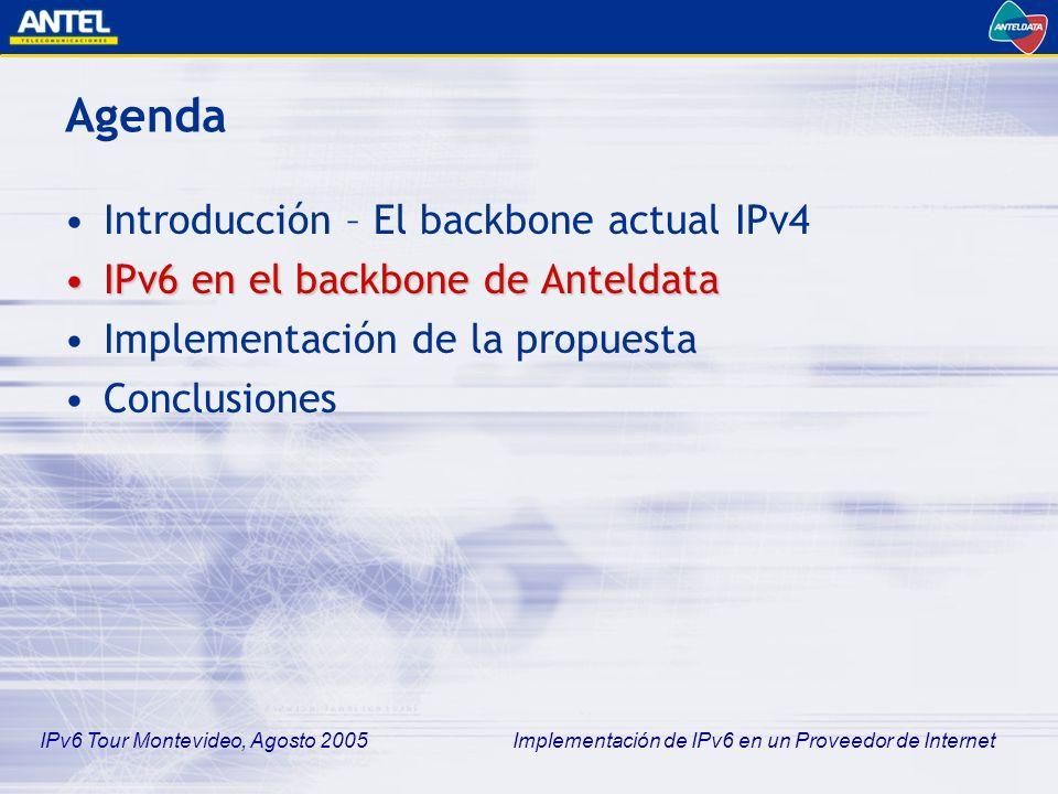 IPv6 Tour Montevideo, Agosto 2005 Implementación de IPv6 en un Proveedor de Internet IPv6 en el backbone de Anteldata Objetivos –Implementación en un subconjunto de la red –Reproducir los roles presentes en la red IPv4 –Habilitación de DNS y enlaces con otros sistemas autónomos (nuestros carriers y la RAU) Restricciones –Plazos –Recursos Horas-hombre Disponibilidad de equipos Obtención de imágenes de IOS