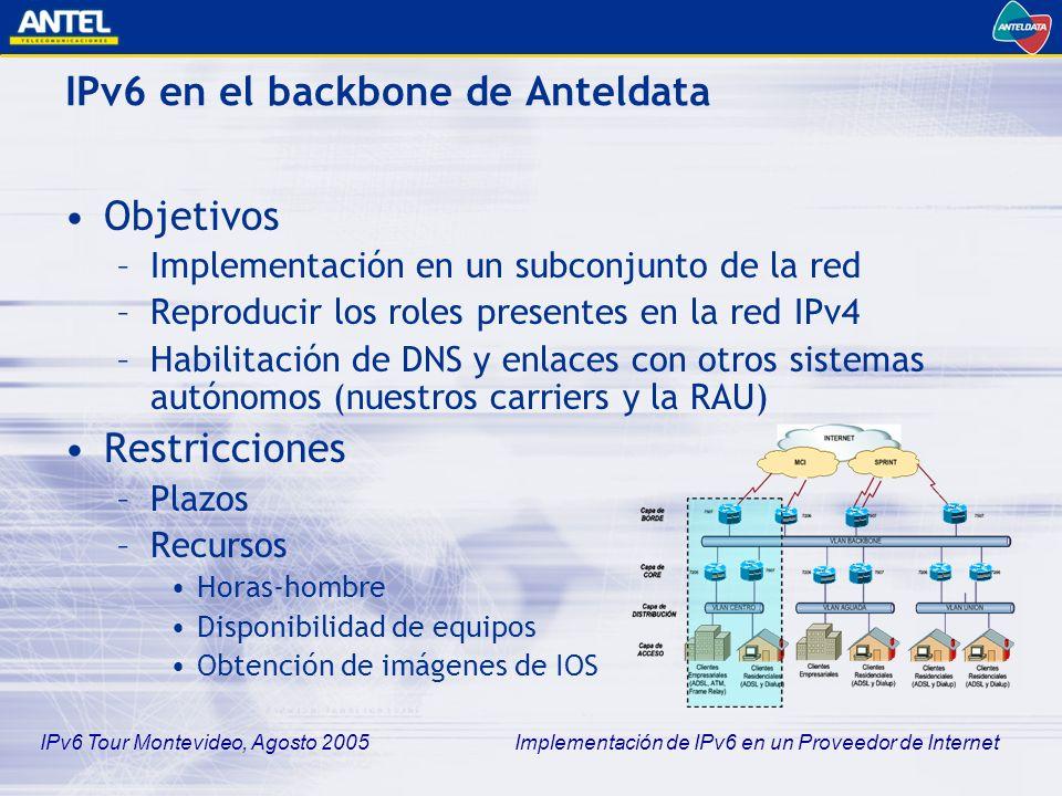 IPv6 Tour Montevideo, Agosto 2005 Implementación de IPv6 en un Proveedor de Internet Implementación de la propuesta Peerings con otros sistemas autónomos –Red Académica Uruguaya (SECIU) Enlace ATM IPv6 nativo –Sprint Túnel GRE con un terminador en Dallas, USA –MCI Túnel GRE igualmente, habilitación en curso