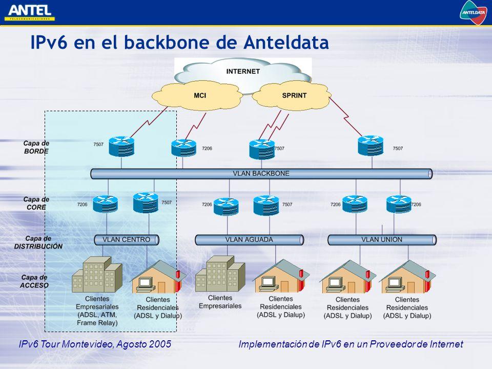 IPv6 Tour Montevideo, Agosto 2005 Implementación de IPv6 en un Proveedor de Internet IPv6 en el backbone de Anteldata