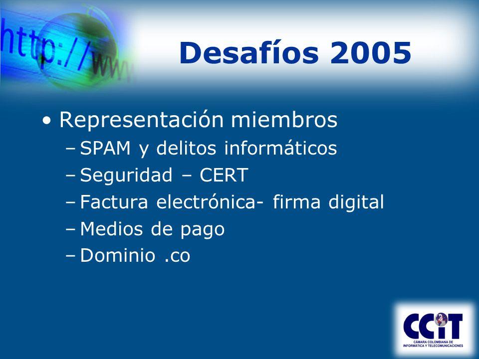 Desafíos 2005 Representación miembros –SPAM y delitos informáticos –Seguridad – CERT –Factura electrónica- firma digital –Medios de pago –Dominio.co