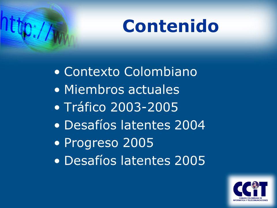Contenido Contexto Colombiano Miembros actuales Tráfico 2003-2005 Desafíos latentes 2004 Progreso 2005 Desafíos latentes 2005