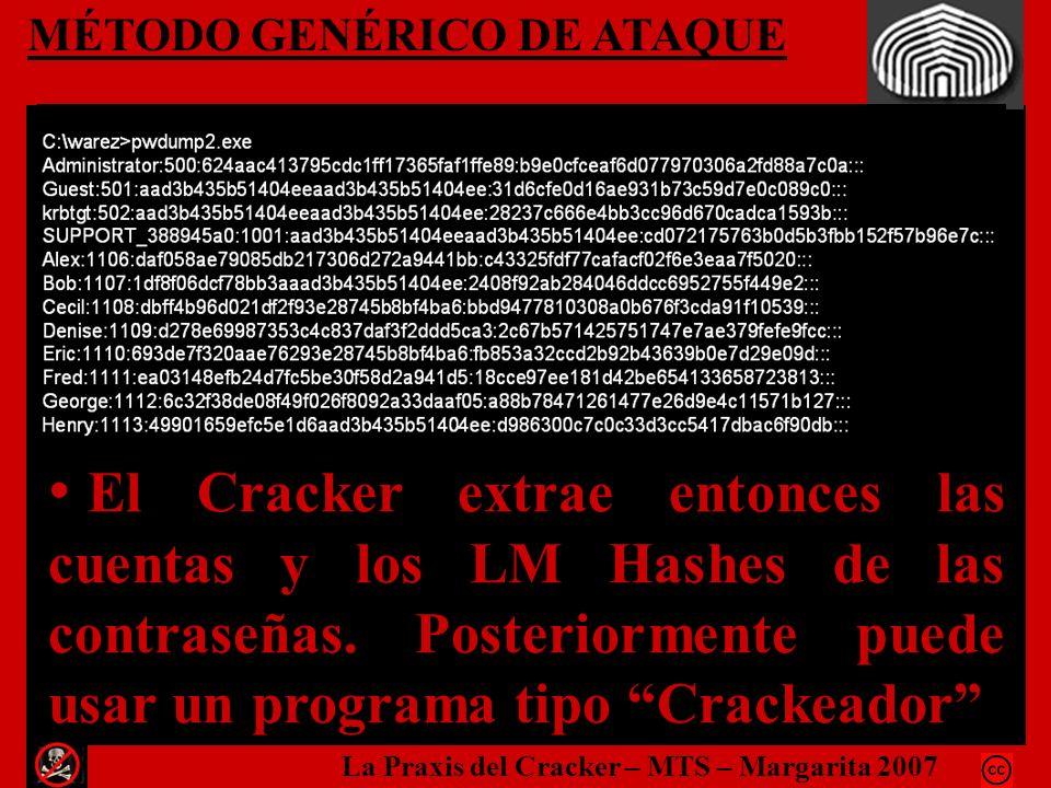 MÉTODO GENÉRICO DE ATAQUE El Cracker extrae entonces las cuentas y los LM Hashes de las contraseñas. Posteriormente puede usar un programa tipo Cracke