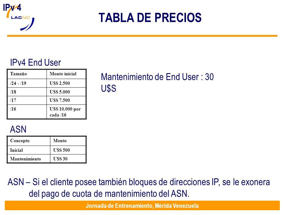 Jornada de Entrenamiento, Mérida Venezuela TABLA DE PRECIOS IPv 4 IPv4 End User ASN Mantenimiento de End User : 30 U$S TamañoMonto inicial /24 - /19U$S 2.500 /18U$S 5.000 /17U$S 7.500 /16U$S 10.000 por cada /16 ConceptoMonto InicialU$S 500 MantenimientoU$S 30 ASN – Si el cliente posee también bloques de direcciones IP, se le exonera del pago de cuota de mantenimiento del ASN.