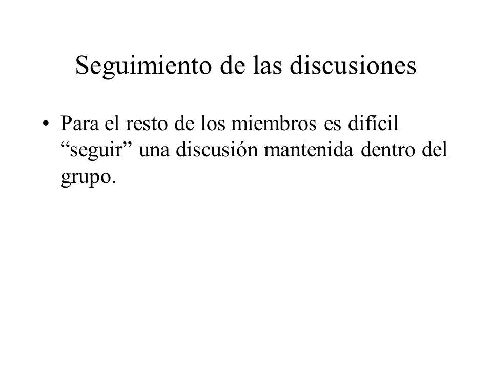 Seguimiento de las discusiones Para el resto de los miembros es difícil seguir una discusión mantenida dentro del grupo.