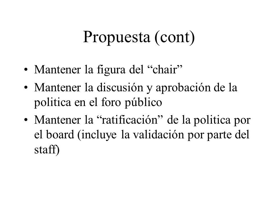 Propuesta (cont) Mantener la figura del chair Mantener la discusión y aprobación de la politica en el foro público Mantener la ratificación de la poli