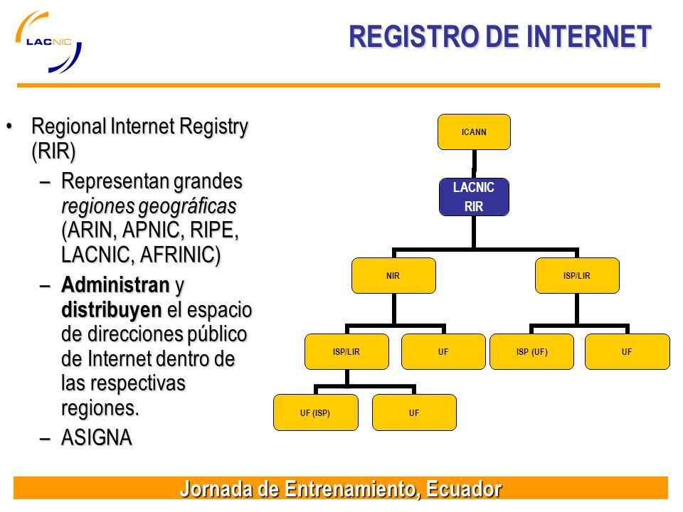 Jornada de Entrenamiento, Ecuador REGISTRO DE INTERNET REGISTRO DE INTERNET Regional Internet Registry (RIR)Regional Internet Registry (RIR) –Represen