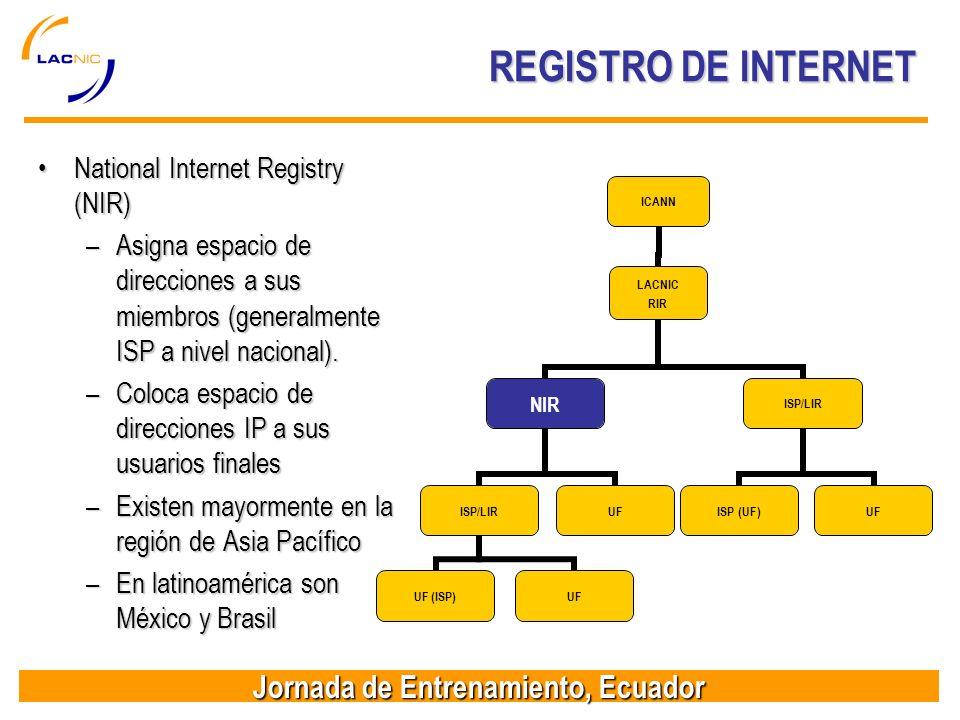 Jornada de Entrenamiento, Ecuador REGISTRO DE INTERNET National Internet Registry (NIR)National Internet Registry (NIR) –Asigna espacio de direcciones