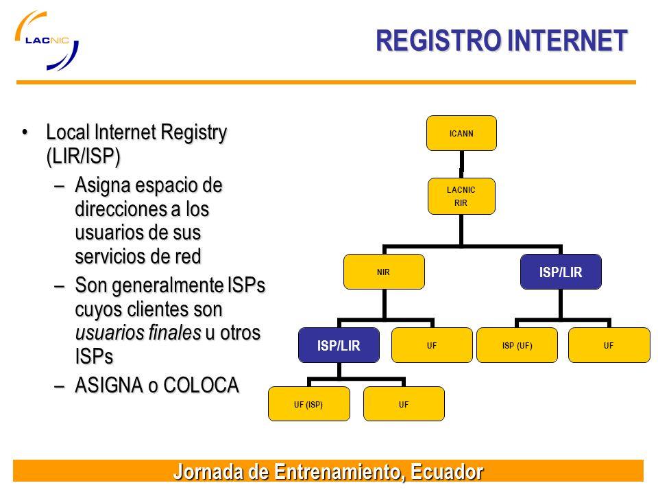 Jornada de Entrenamiento, Ecuador REGISTRO INTERNET Local Internet Registry (LIR/ISP)Local Internet Registry (LIR/ISP) –Asigna espacio de direcciones