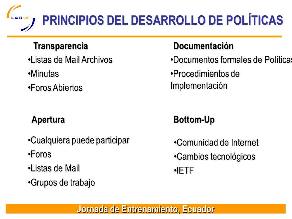 Jornada de Entrenamiento, Ecuador PRINCIPIOS DEL DESARROLLO DE POLÍTICAS Apertura Cualquiera puede participarCualquiera puede participar ForosForos Li