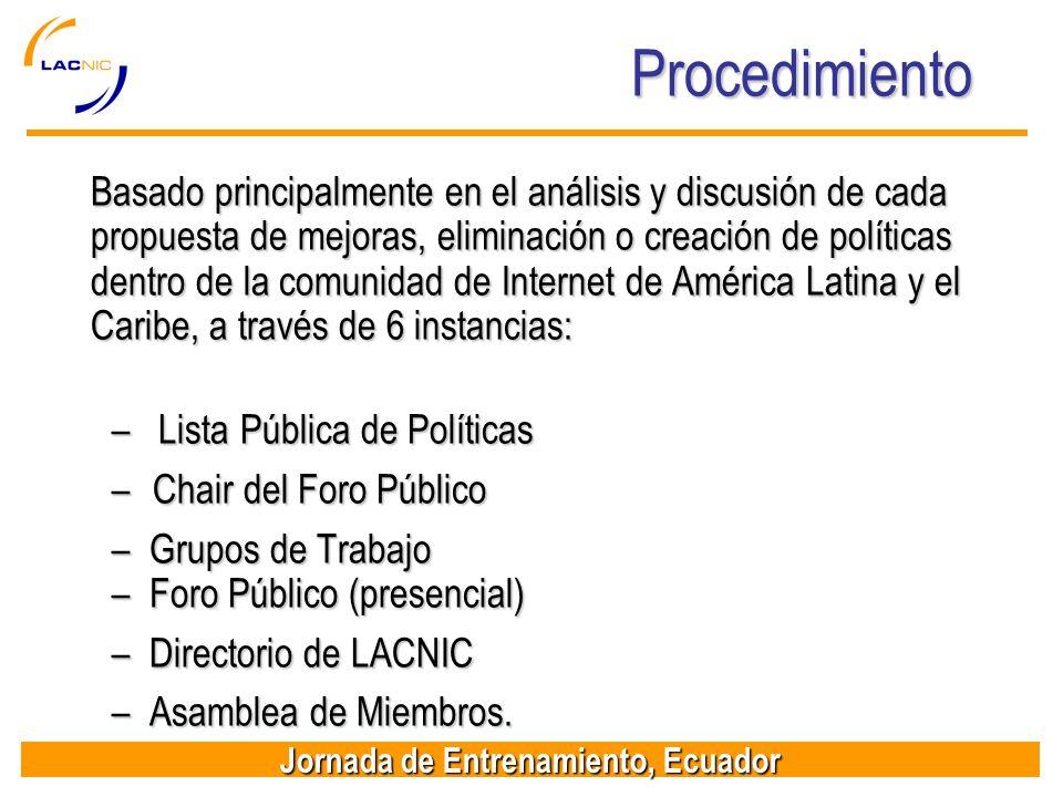 Jornada de Entrenamiento, Ecuador Procedimiento Basado principalmente en el análisis y discusión de cada propuesta de mejoras, eliminación o creación
