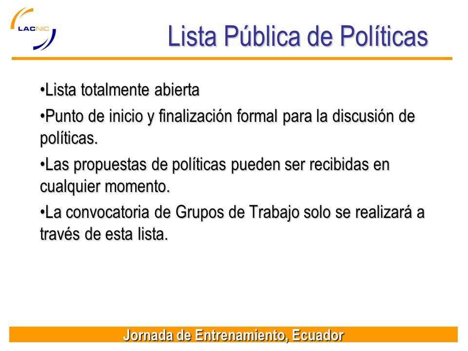Jornada de Entrenamiento, Ecuador Lista Pública de Políticas Lista totalmente abiertaLista totalmente abierta Punto de inicio y finalización formal pa