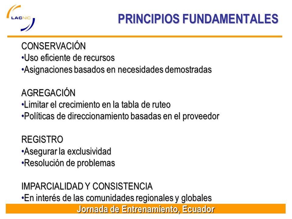 Jornada de Entrenamiento, Ecuador PRINCIPIOS FUNDAMENTALES CONSERVACIÓN Uso eficiente de recursosUso eficiente de recursos Asignaciones basados en nec