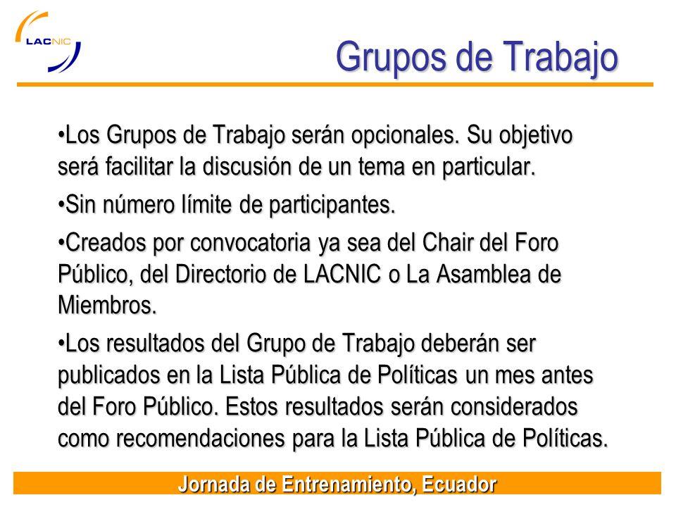 Jornada de Entrenamiento, Ecuador Grupos de Trabajo Los Grupos de Trabajo serán opcionales. Su objetivo será facilitar la discusión de un tema en part