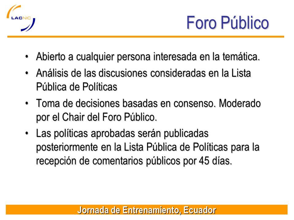 Jornada de Entrenamiento, Ecuador Foro Público Abierto a cualquier persona interesada en la temática.Abierto a cualquier persona interesada en la temá
