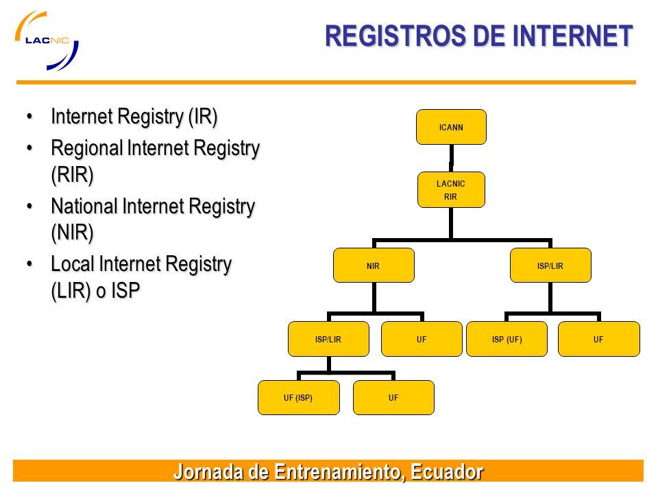Jornada de Entrenamiento, Ecuador REGISTROS DE INTERNET Internet Registry (IR)Internet Registry (IR) Regional Internet Registry (RIR)Regional Internet