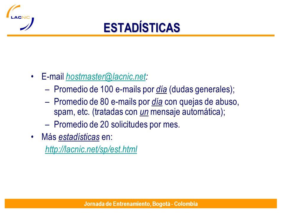 Jornada de Entrenamiento, Bogotá - Colombia ESTADÍSTICAS E-mail hostmaster@lacnic.net: hostmaster@lacnic.net –Promedio de 100 e-mails por día (dudas g