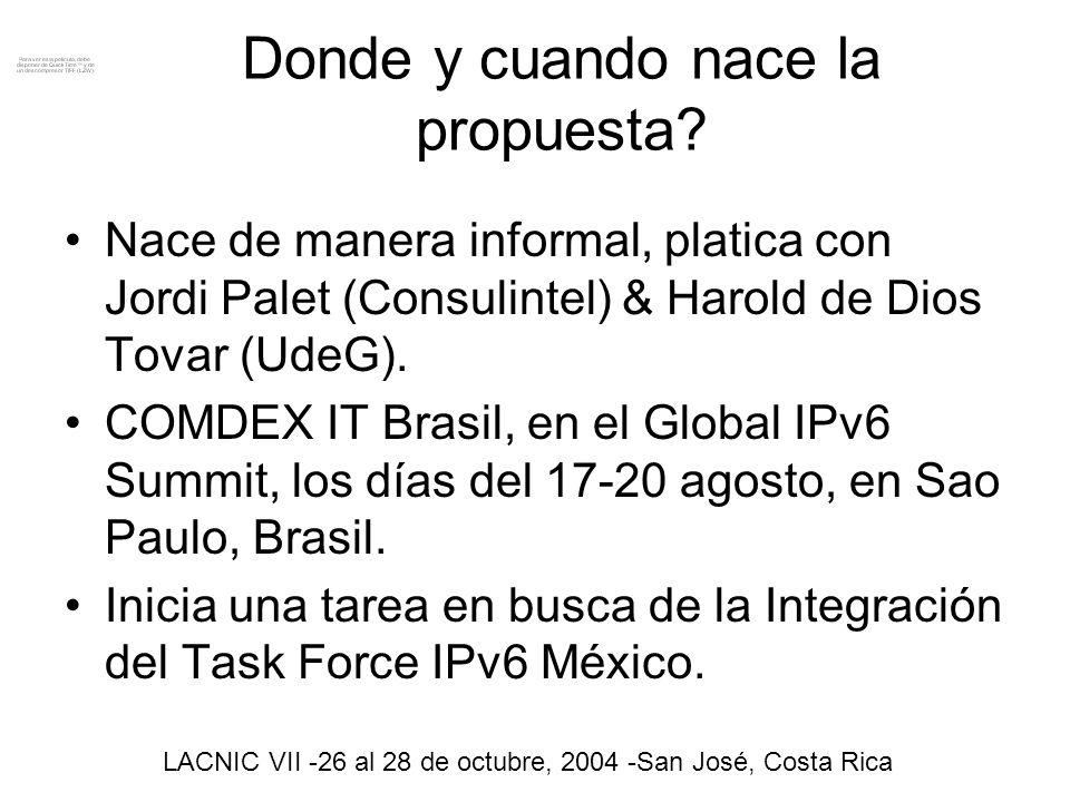 OBJETIVO En general impulsar la Difusión de cualquier tipo de desarrollo, investigación, publicación, promoción, esfuerzos, recomendaciones, referentes al protocolo de IPv6 que se generen en la Republica Mexicana en cualquiera de sus formas.