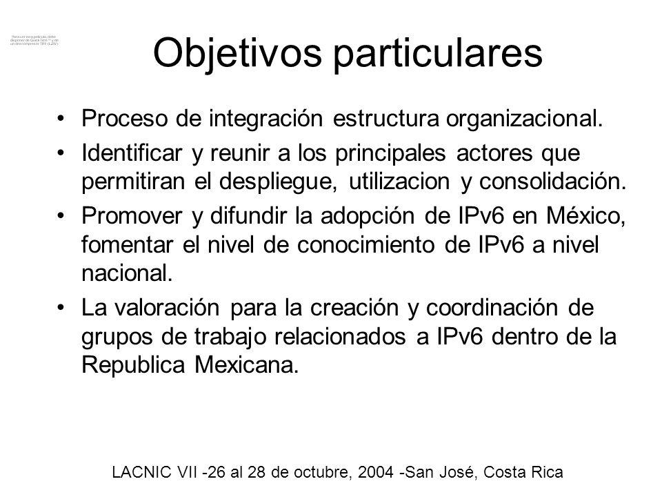 Objetivos Particulares la coordinación para la realización y ejecución de toda clase de actos, foros, seminarios, convenciones, entrenamientos, congresos dentro del territorio nacional e intervenciones Internacionales referentes a IPv6 en coordinación con IPv6 forum México.
