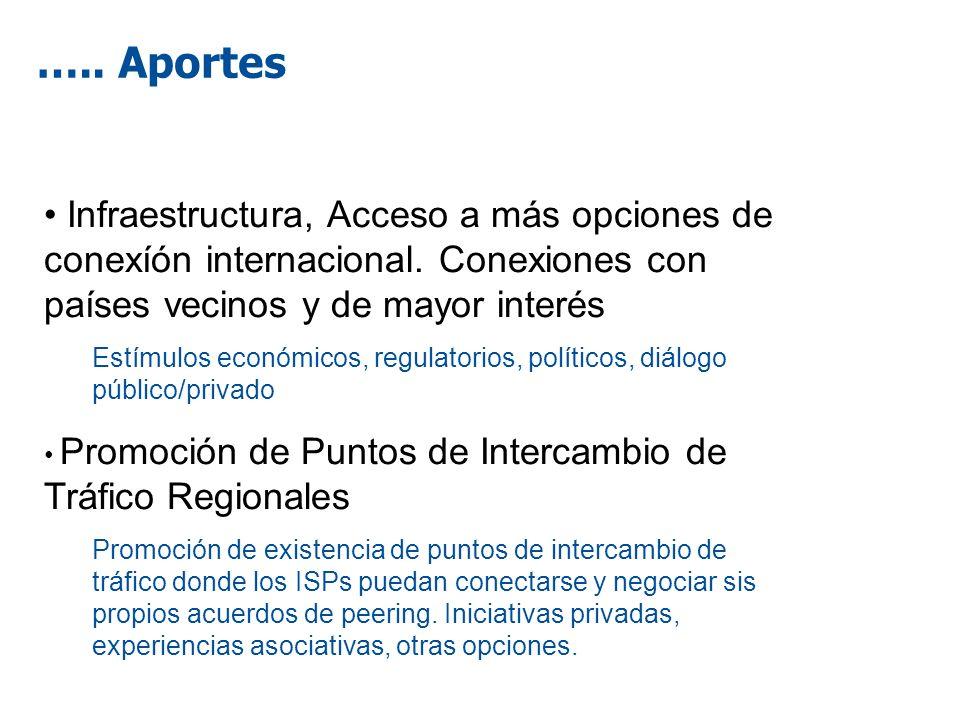 ….. Aportes Infraestructura, Acceso a más opciones de conexíón internacional. Conexiones con países vecinos y de mayor interés Estímulos económicos, r
