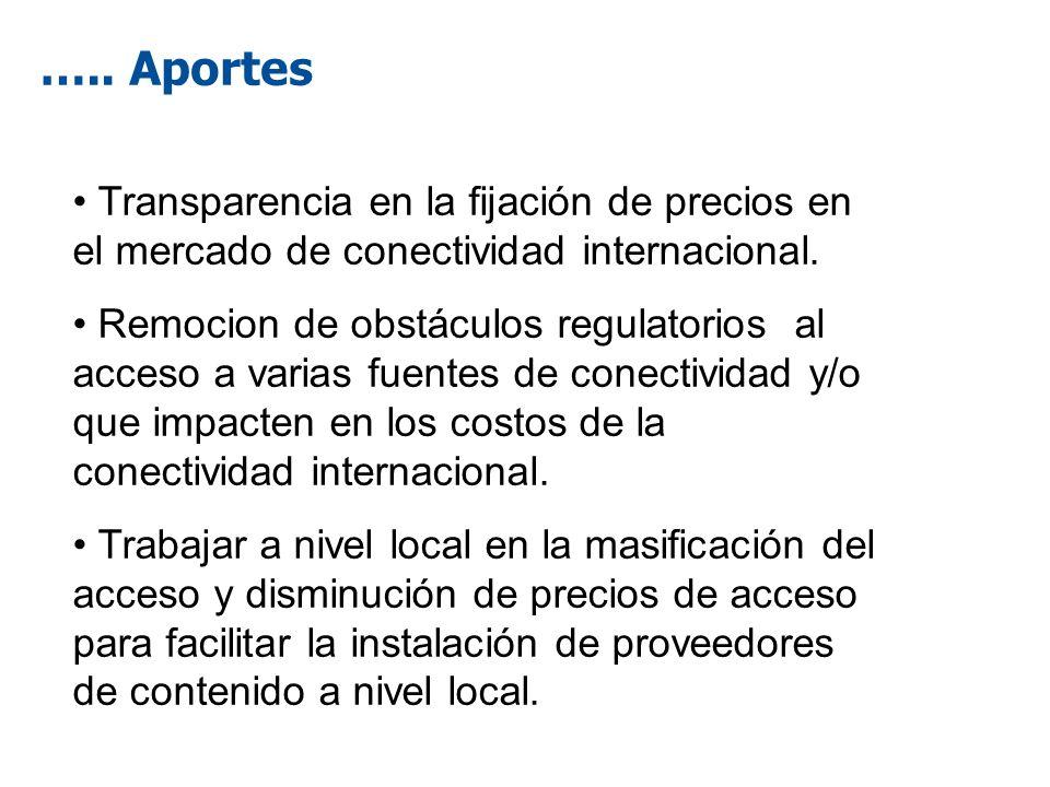 ….. Aportes Transparencia en la fijación de precios en el mercado de conectividad internacional. Remocion de obstáculos regulatorios al acceso a varia