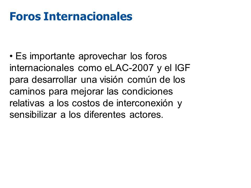 Foros Internacionales Es importante aprovechar los foros internacionales como eLAC-2007 y el IGF para desarrollar una visión común de los caminos para
