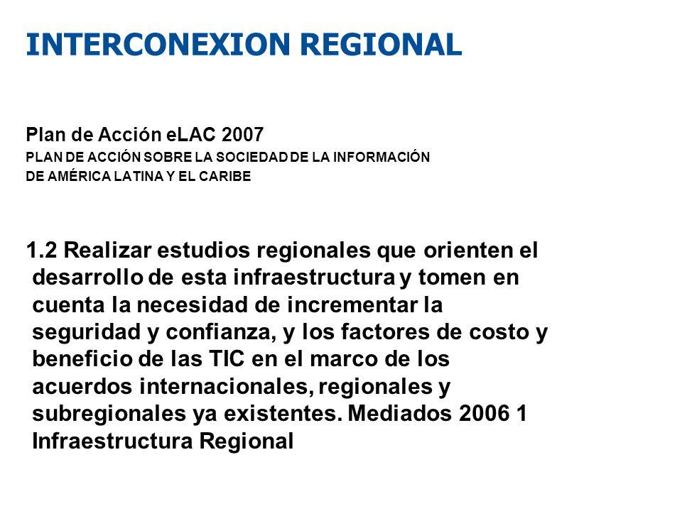 INTERCONEXION REGIONAL Plan de Acción eLAC 2007 PLAN DE ACCIÓN SOBRE LA SOCIEDAD DE LA INFORMACIÓN DE AMÉRICA LATINA Y EL CARIBE 1.2 Realizar estudios