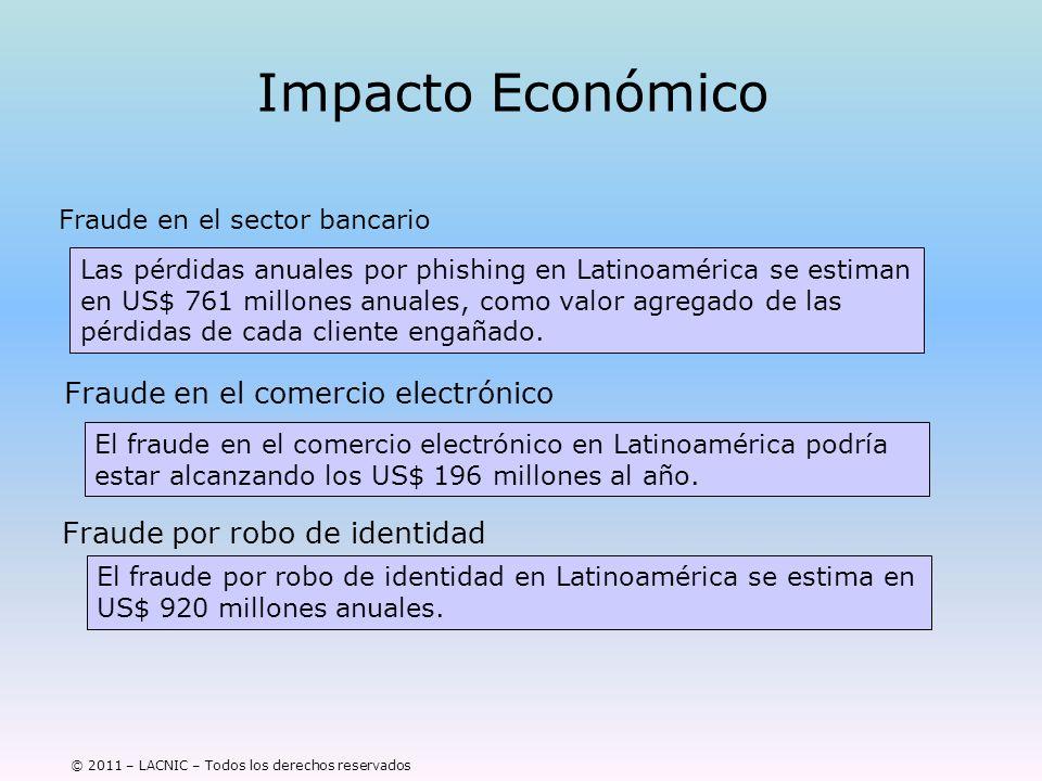 © 2011 – LACNIC – Todos los derechos reservados Impacto Económico Fraude en el sector bancario Las pérdidas anuales por phishing en Latinoamérica se e