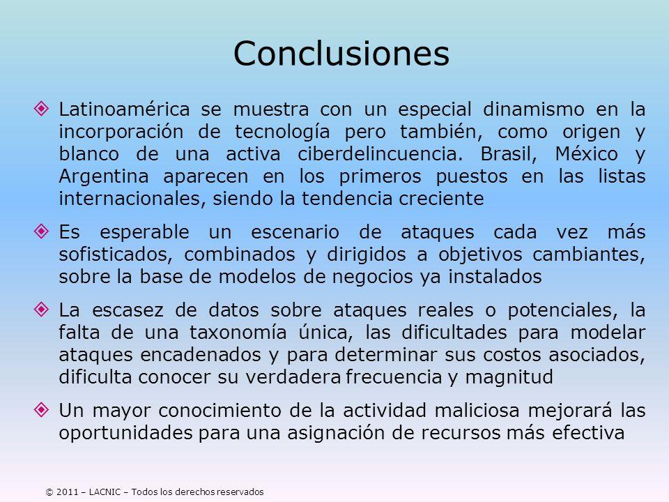 © 2011 – LACNIC – Todos los derechos reservados Conclusiones Latinoamérica se muestra con un especial dinamismo en la incorporación de tecnología pero
