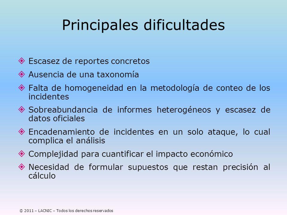 © 2011 – LACNIC – Todos los derechos reservados Principales dificultades Escasez de reportes concretos Ausencia de una taxonomía Falta de homogeneidad