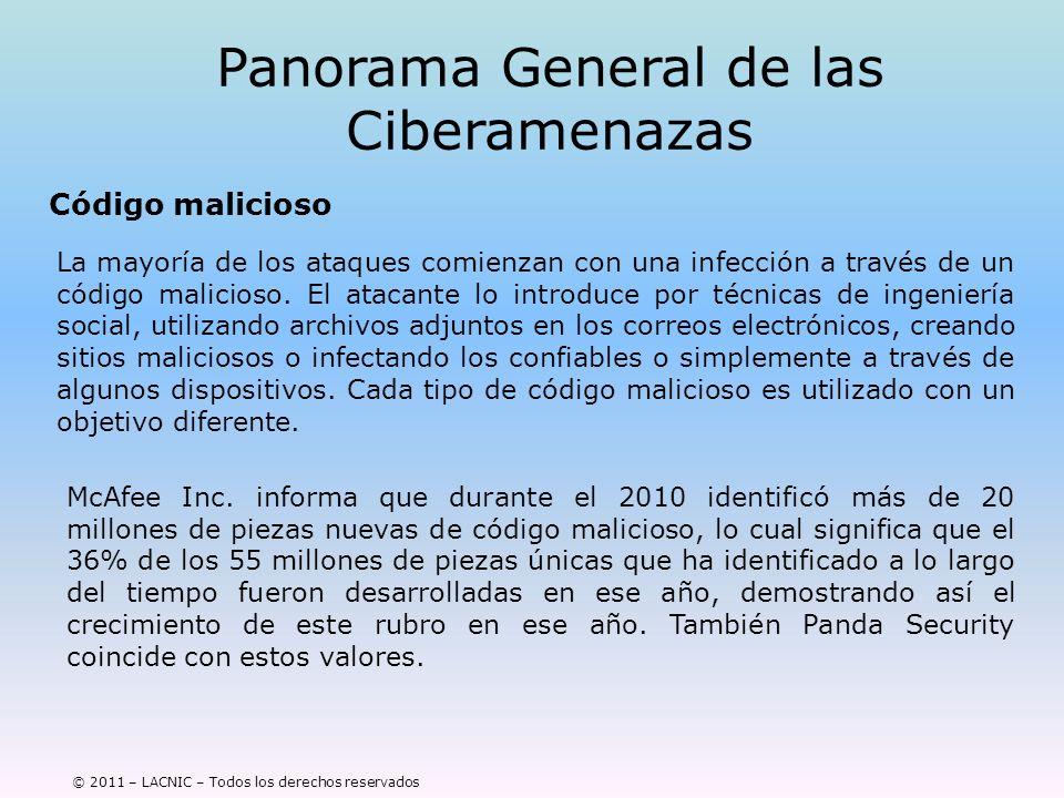 © 2011 – LACNIC – Todos los derechos reservados Panorama General de las Ciberamenazas Código malicioso La mayoría de los ataques comienzan con una inf