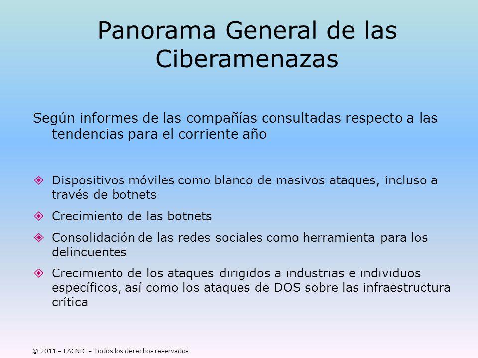 © 2011 – LACNIC – Todos los derechos reservados Panorama General de las Ciberamenazas Según informes de las compañías consultadas respecto a las tende