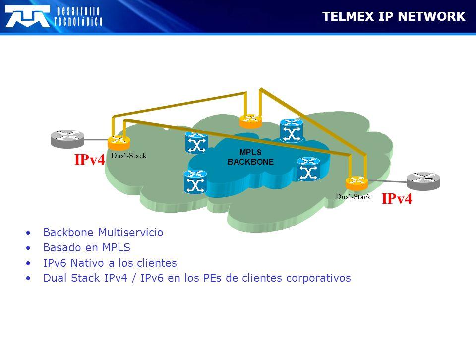 TELMEX IP NETWORK MPLS BACKBONE Dual-Stack IPv4 Dual-Stack Backbone Multiservicio Basado en MPLS IPv6 Nativo a los clientes Dual Stack IPv4 / IPv6 en