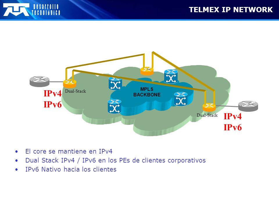 TELMEX IP NETWORK MPLS BACKBONE Dual-Stack IPv4 IPv6 IPv4 IPv6 Dual-Stack El core se mantiene en IPv4 Dual Stack IPv4 / IPv6 en los PEs de clientes co