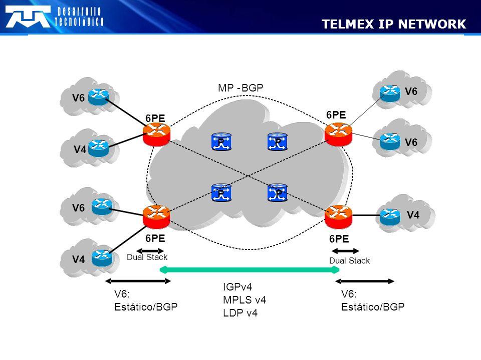 V6 V4 V6 V4 V6 V4 IGPv4 MPLS v4 LDP v4 V6: Estático/BGP V6: Estático/BGP DualStack DualStack 6PE P PP P MP-BGP TELMEX IP NETWORK