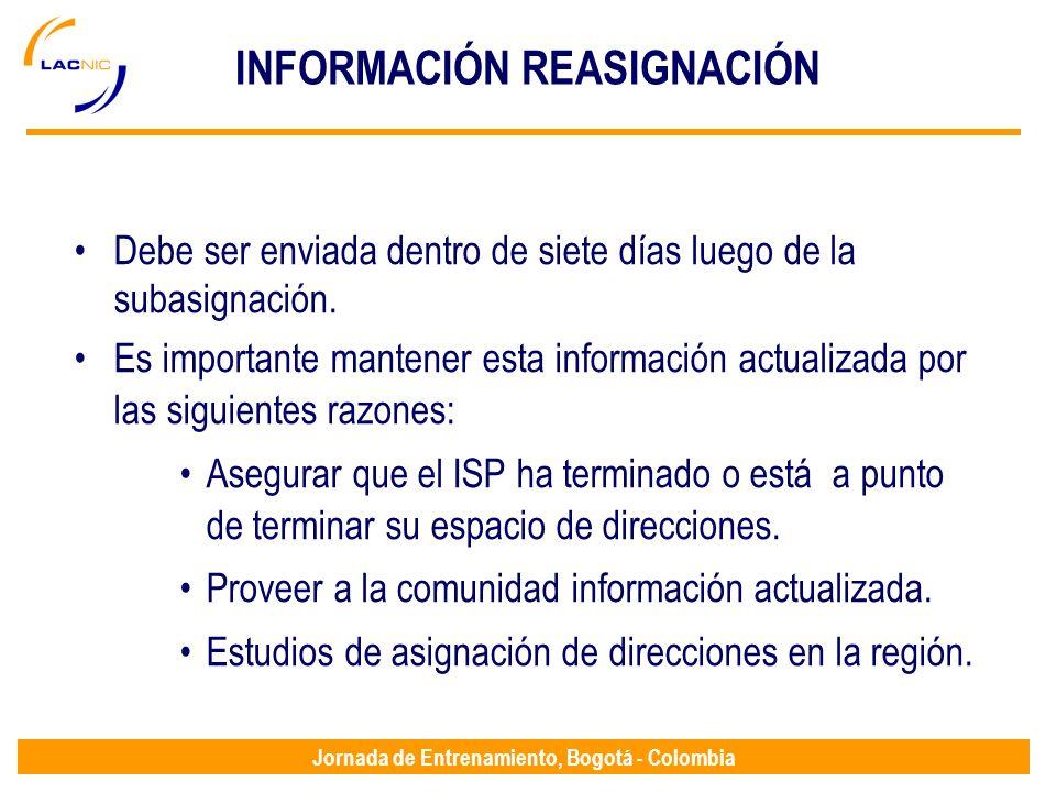 Jornada de Entrenamiento, Bogotá - Colombia INFORMACIÓN REASIGNACIÓN Debe ser enviada dentro de siete días luego de la subasignación. Es importante ma