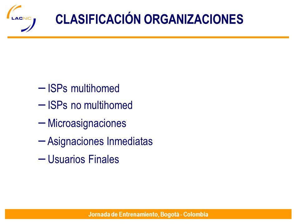 Jornada de Entrenamiento, Bogotá - Colombia CLASIFICACIÓN ORGANIZACIONES – ISPs multihomed – ISPs no multihomed – Microasignaciones – Asignaciones Inm
